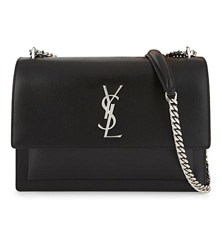 SAINT LAURENT Monogram Sunset large leather shoulder bag (Black