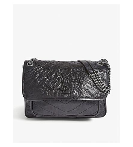 SAINT LAURENT Medium Monogram leather cross-body bag (Black