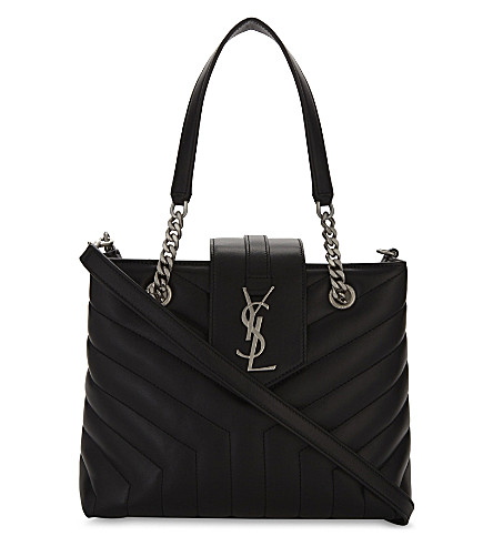SAINT LAURENT Loulou small quilted leather tote bag (Black
