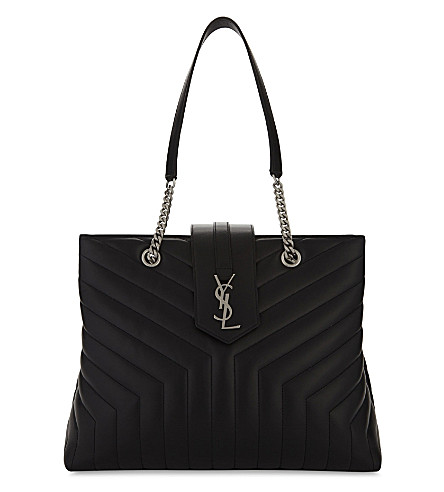 SAINT LAURENT Loulou large quilted leather tote bag (Black