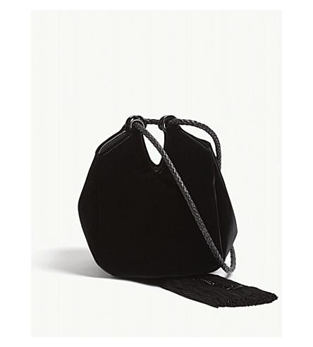 SAINT LAURENT Mansour velvet clutch (Black