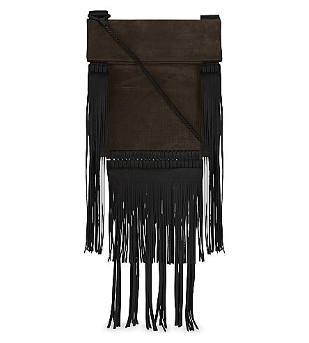 SAINT LAURENT Tanger suede cross-body bag (Dark+west+brown