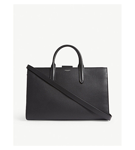 SAINT LAURENT Debbie Cabas large leather tote (Black