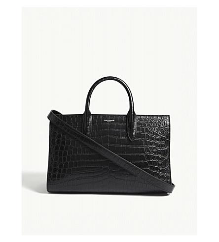 SAINT LAURENT Jane medium crocodile-embossed leather tote (Black