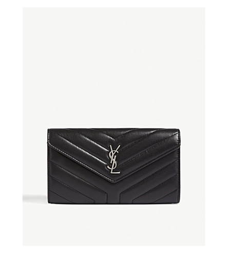 SAINT LAURENT LouLou large quilted leather wallet (Black/silver