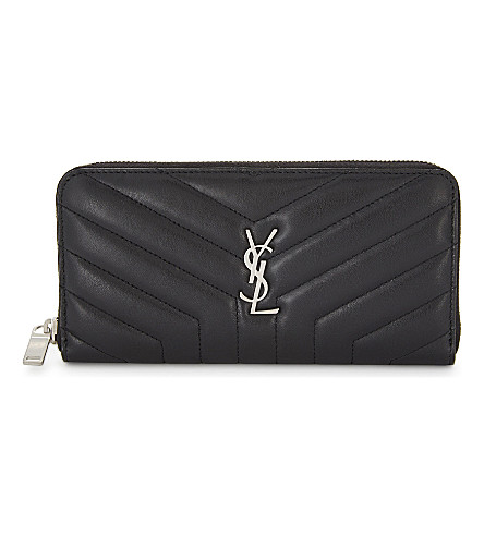 SAINT LAURENT LouLou leather wallet (Black/silver
