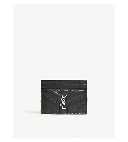 SAINT LAURENT Monogram Loulou leather card holder (Black/silver