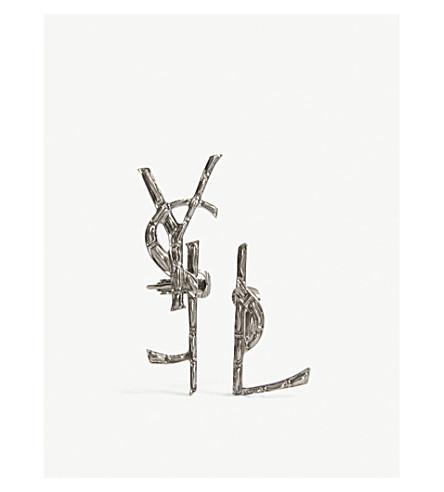 SAINT LAURENT Monogram clip-on earrings (Silver