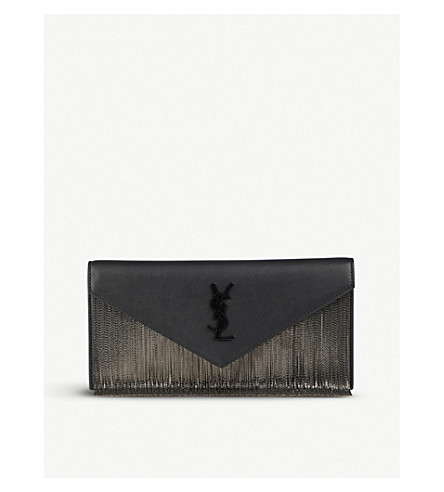 SAINT LAURENT Monogram spot-print leather shoulder bag (Black