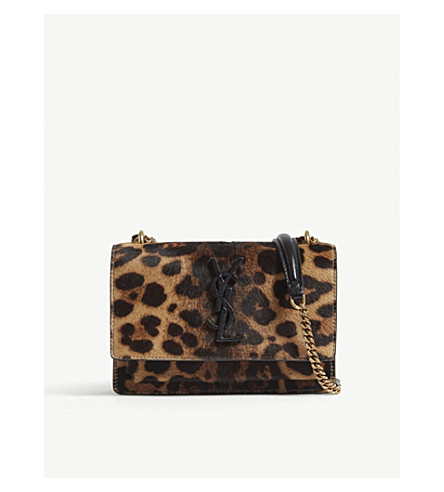 SAINT LAURENT Sunset leopard spot ponyhair wallet-on-chain (Leopard