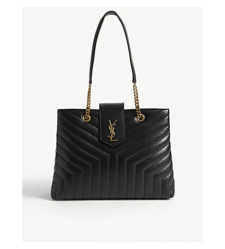 SAINT LAURENT Monogram LouLou large leather tote (Black+/gold