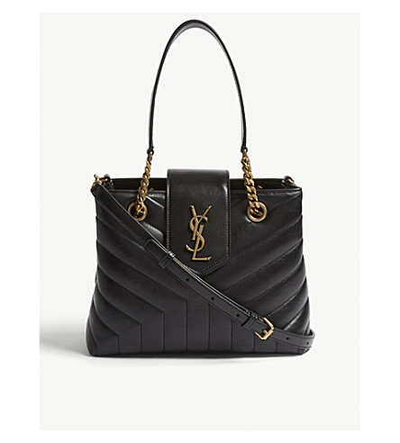 SAINT LAURENT Loulou small quilted leather tote bag (Black/gold