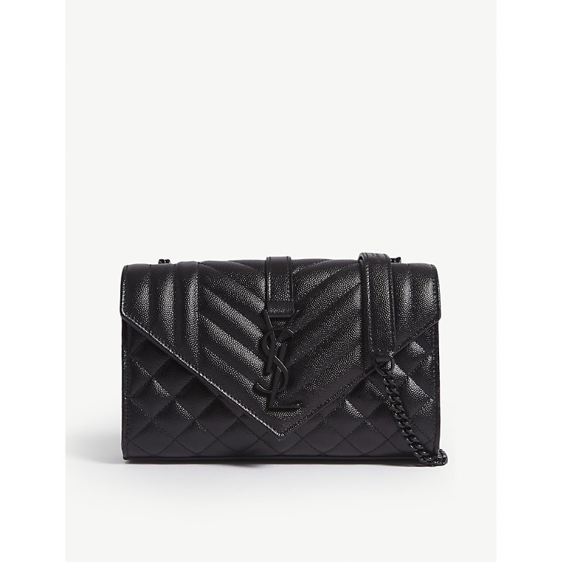 Monogram small quilted pebbled leather satchel