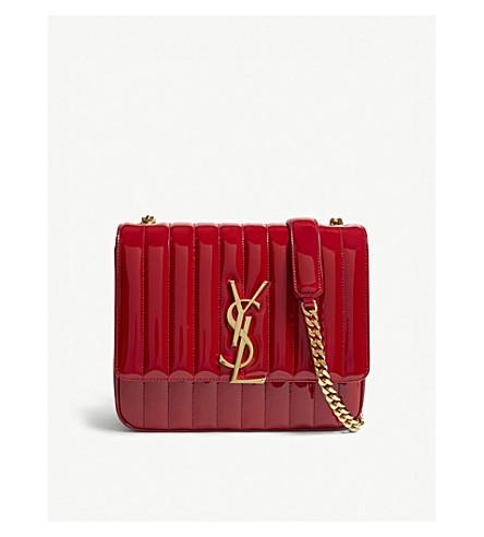 LAURENT large SAINT leather shoulder Red Vicky SAINT LAURENT patent bag HwIxnIBEq