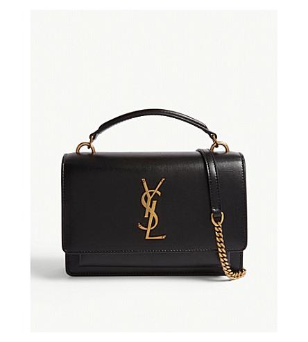 SAINT LAURENT Monogram Sunset leather shoulder bag (Black