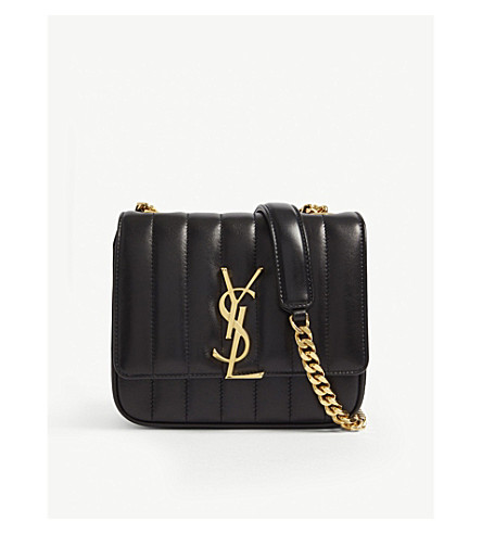 SAINT LAURENT Vicky small quilted leather cross-body bag (Black