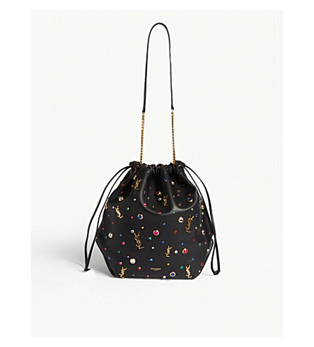 SAINT LAURENT Teddy embellished leather bucket bag (Multi