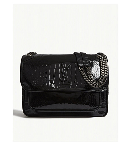 SAINT LAURENT Niki croc-embossed leather shoulder bag (Black