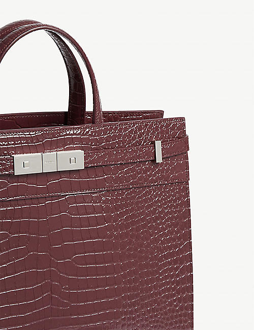 SAINT LAURENT Manhattan croc-embossed leather tote