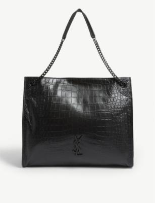 Niki large croc-embossed leather shopper(8313714)