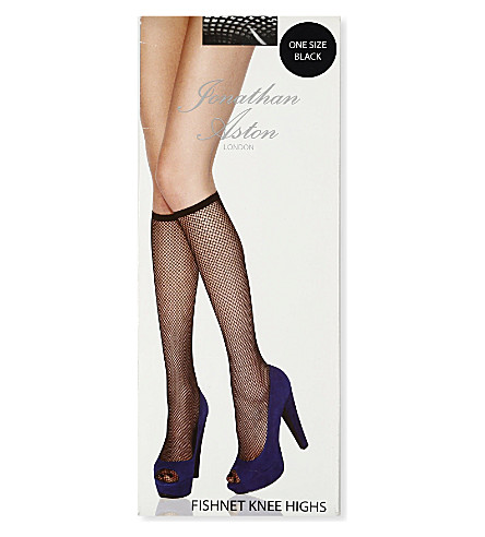 JONATHAN ASTON Fishnet knee-high tights (Black