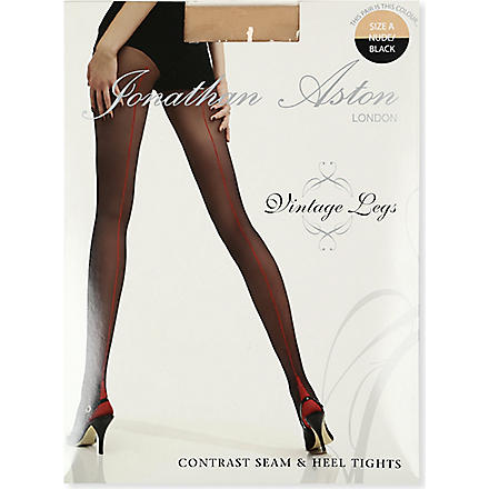 JONATHAN ASTON Contrast seam heel tights (Nude/black