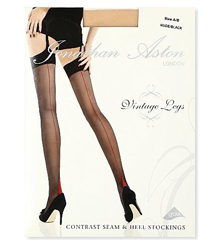 JONATHAN ASTON Contrast seam heel stockings (Nude/black