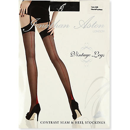 JONATHAN ASTON Contrast seam heel stockings (Black/fuchsia