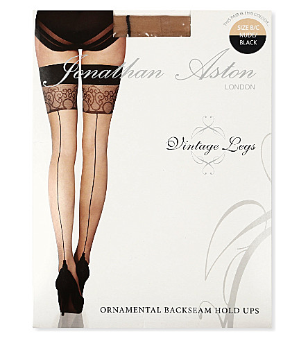 JONATHAN ASTON Ornamental backseam hold ups (Nude/black