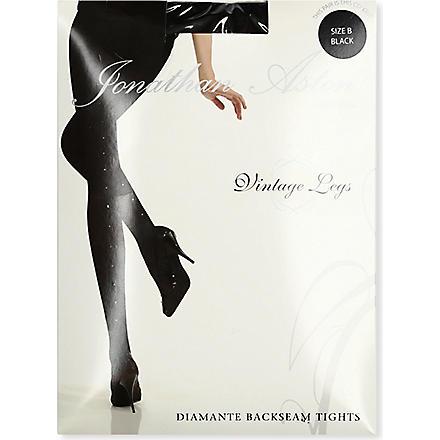 JONATHAN ASTON Crystal back-seam tights (Black