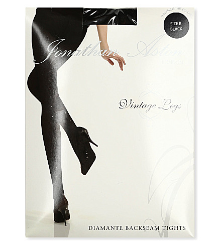 JONATHAN ASTON Crystal back-seam tights (Black
