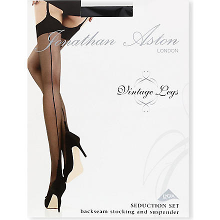 JONATHAN ASTON Seduction stocking and suspender set (Black/black