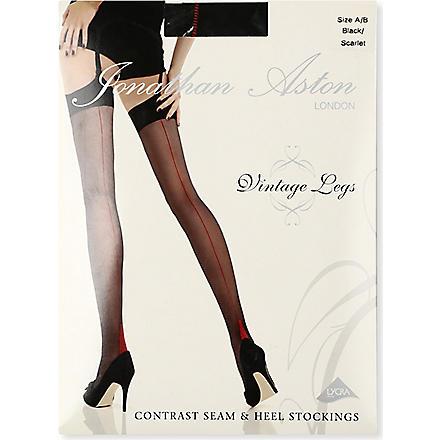 JONATHAN ASTON Contrast seam stockings (Black/scarlet