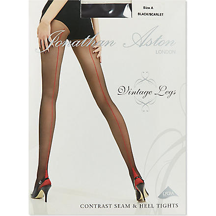 JONATHAN ASTON Contrast seam tights (Black/scarlet