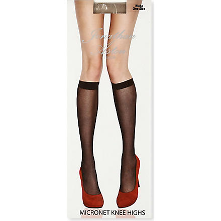 JONATHAN ASTON Micronet knee highs tights (Nude