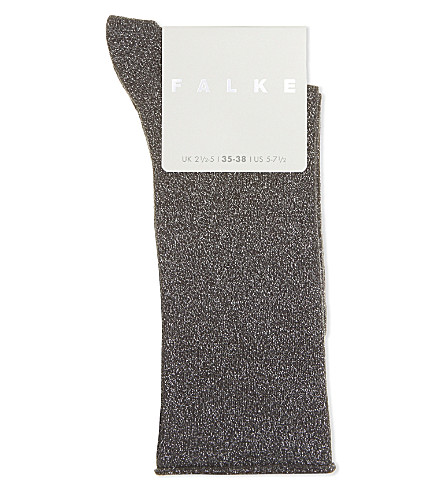 FALKE Shiny metallic socks (3240+hematite
