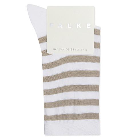 FALKE Striped poplin cotton-blend socks (2000+white