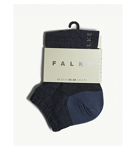 FALKE Geometric print cotton-blend trainer socks (6568+baltic+blue