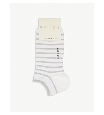 FALKE Glitter stripe cotton-blend trainer socks (2000+white