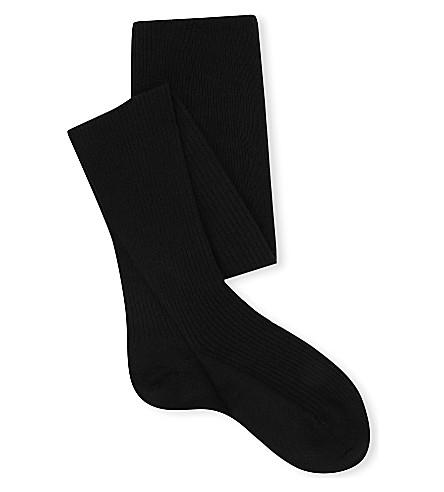 FALKE 带罗纹膝高羊毛袜子 (3009 + 黑色