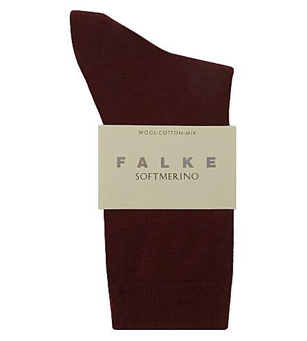 FALKE Ribbed wool socks (8185 garnet
