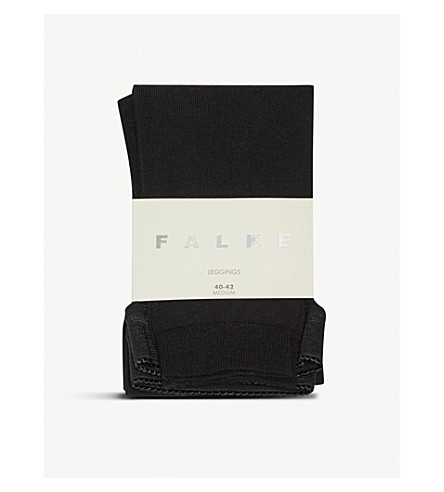 FALKE Soft merino and cotton-blend leggings (3000+black