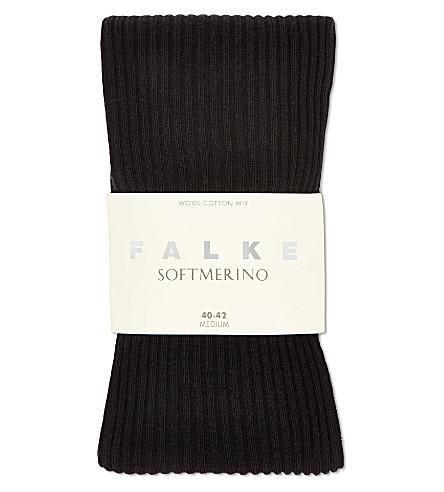 FALKE Soft merino ribbed tights (Black