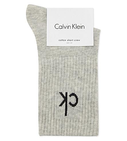 CALVIN KLEIN Icon logo short crew socks (J41 pale grey htr