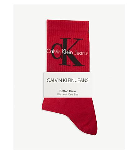 CALVIN KLEIN Cotton crew socks (Crimson+red