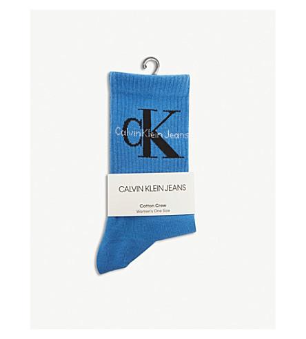 CALVIN KLEIN Cotton crew socks (Indigo