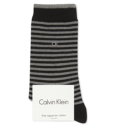 CALVIN KLEIN Leya striped cotton socks (00+black