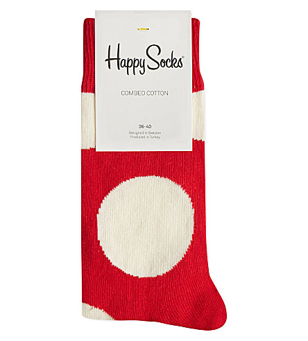 HAPPY SOCKS Jumbo dots socks (White/red