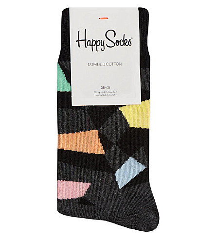 HAPPY SOCKS Random colour cotton socks (Grey/orange/pink