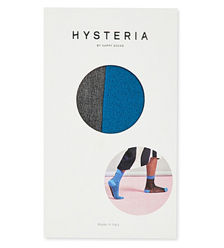 HYSTERIA Filippa sheer and opaque short socks (Blue